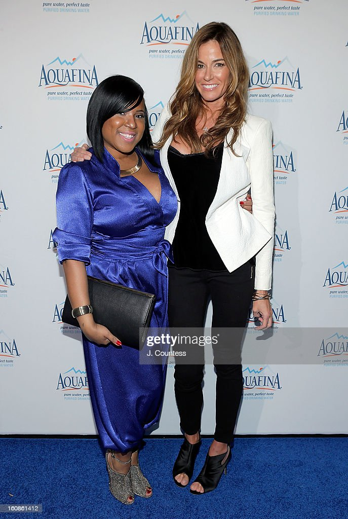 Designer Carmen Green and Reality TV personality/model Kelly Bensimon attend The Aquafina 'Pure Challenge' After Party at The Empire Hotel Rooftop on February 6, 2013 in New York City.