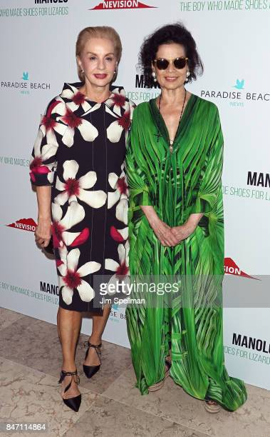 Designer Carolina Herrera and actress Bianca Jagger attends the 'Manolo The Boy Who Made Shoes For Lizards' world premiere hosted by Manolo Blahnik...