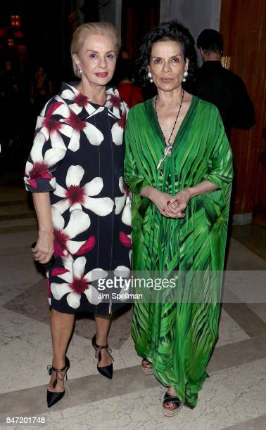 Designer Carolina Herrera and Bianca Jagger attend the premiere of 'Manolo The Boy Who Made Shoes For Lizards' hosted by Manolo Blahnik with The...