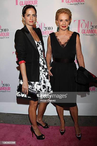 Designer Carolina Herrera and her daughter Carolina Adriana Herrera attend the Top Glamour Awards 2010 pink carpet at Casino Del Bosque on October 28...