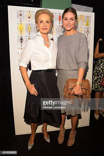 Designer Carolina Herrera and Olivia Palermo pose backstage at the Carolina Herrera fashion show during MercedesBenz Fashion Week Spring 2015 at The...