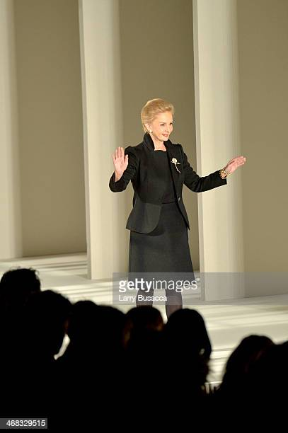 Designer Carolina Herrera attends the Carolina Herrera fashion show during MercedesBenz Fashion Week Fall 2014 at The Theatre at Lincoln Center on...