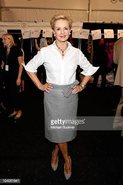 Designer Carolina Herrera poses backstage at the Carolina Herrera Spring 2011 fashion show during the MercedesBenz Fashion Week Spring 2011 Official...