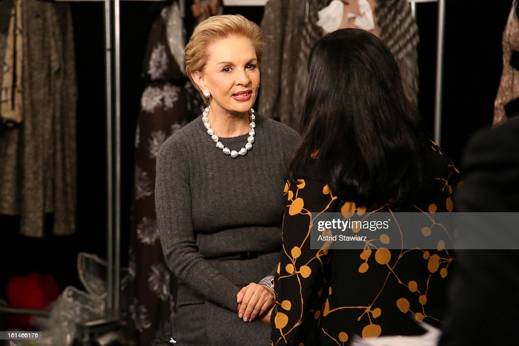 Designer Carolina Herrera poses backstage at the Carolina Herrera Fall 2013 fashion show during Mercedes-Benz Fashion Week at The Theatre at Lincoln Center on February 11, 2013 in New York City.