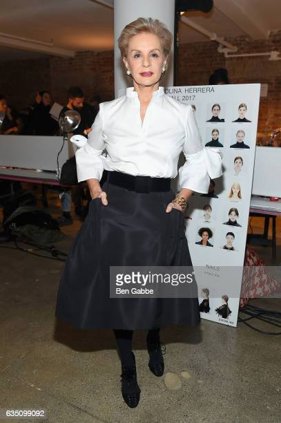 Designer Carolina Herrera poses backstage for the Carolina Herrera collection during New York Fashion Week The Shows on February 13 2017 in New York...