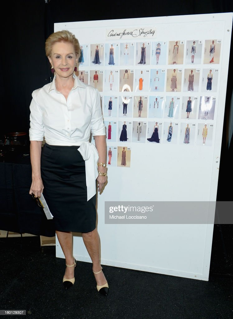 Designer Carolina Herrera prepares backstage at the Carolina Herrera fashion show during Mercedes-Benz Fashion Week Spring 2014 at The Theatre at Lincoln Center on September 9, 2013 in New York City.