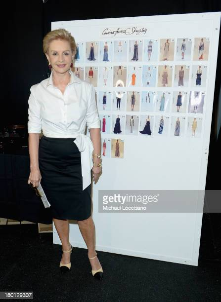 Designer Carolina Herrera prepares backstage at the Carolina Herrera fashion show during MercedesBenz Fashion Week Spring 2014 at The Theatre at...