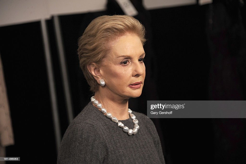 Designer <a gi-track='captionPersonalityLinkClicked' href=/galleries/search?phrase=Carolina+Herrera+-+Fashion+Designer&family=editorial&specificpeople=4205481 ng-click='$event.stopPropagation()'>Carolina Herrera</a> seen backstage at <a gi-track='captionPersonalityLinkClicked' href=/galleries/search?phrase=Carolina+Herrera+-+Fashion+Designer&family=editorial&specificpeople=4205481 ng-click='$event.stopPropagation()'>Carolina Herrera</a> during Fall 2013 Mercedes-Benz Fashion Week at The Theatre at Lincoln Center on February 11, 2013 in New York City.