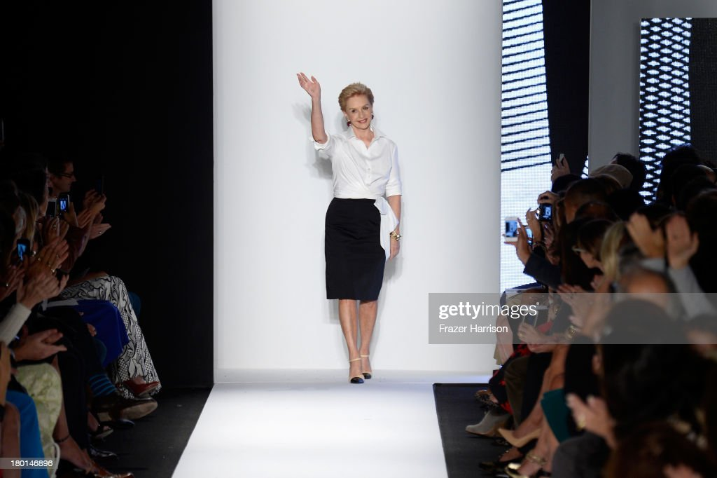 Designer Carolina Herrera takes a bow on the runway at the Carolina Herrera fashion show during Mercedes-Benz Fashion Week Spring 2014 on September 9, 2013 in New York City.