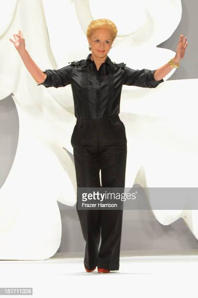Designer Carolina Herrera walks the runway at the Carolina Herrera Spring 2013 fashion show during MercedesBenz Fashion Week on September 10 2012 in...
