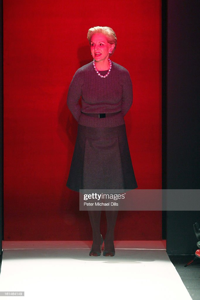 Designer Carolina Herrera walks the runway at the Carolina Herrera Fall 2013 fashion show during Mercedes-Benz Fashion Week at The Theatre at Lincoln Center on February 11, 2013 in New York City.