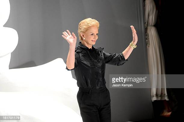 Designer Caroline Herrera attends the Carolina Herrera Spring 2013 fashion show during MercedesBenz Fashion Week at The Theatre at Lincoln Center on...