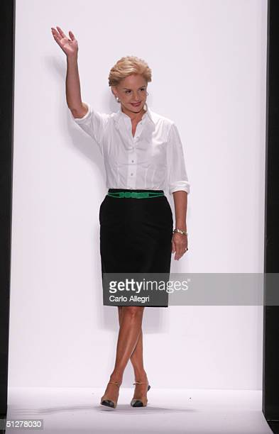 Designer Caroline Herrera walks down the runway at the Caroline Herrera show during Olympus Fashion Week Spring 2005 at Bryant Park September 9 2004...