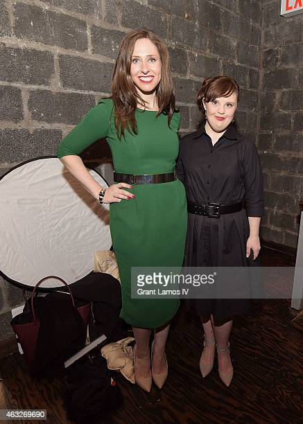 Designer Carrie Hammer and actress Jamie Brewer backstage at Role Models Not Runway Models show during MercedesBenz Fashion Week Fall 2015 on...