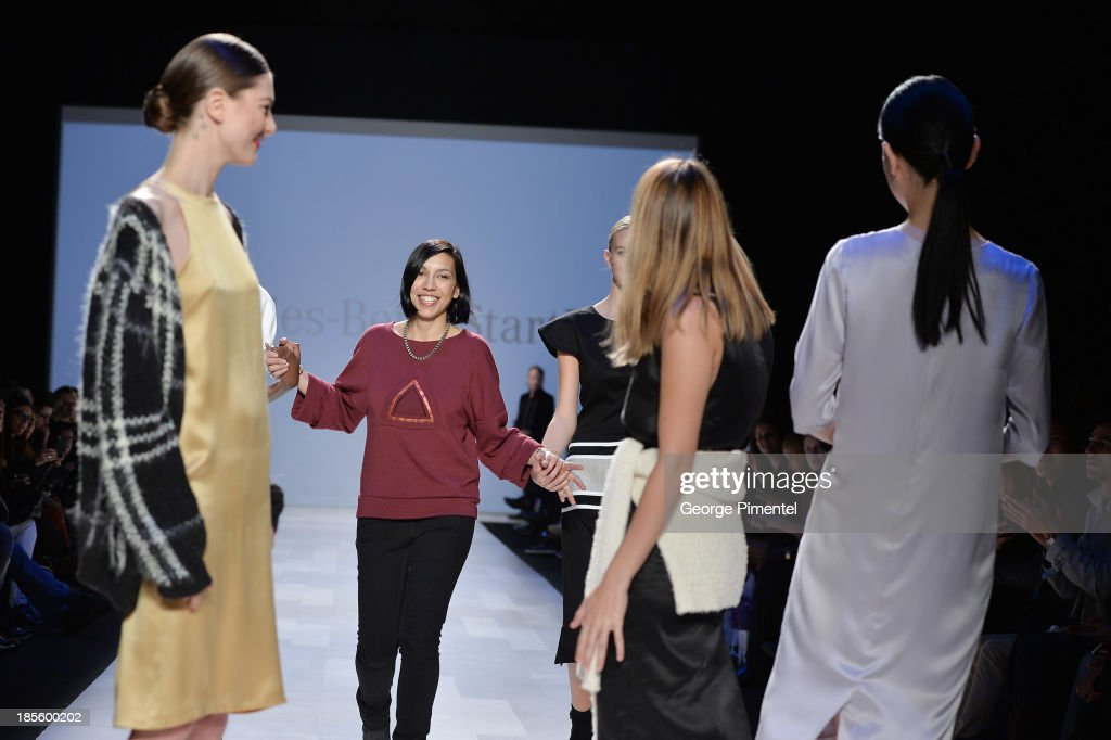Designer Cecile Raizonville of Matiere Noire, winner of of the Mercedes-Benz Start-Up national final, walks the runway during World MasterCard Fashion Week Spring 2014 at David Pecaut Square on October 22, 2013 in Toronto, Canada.