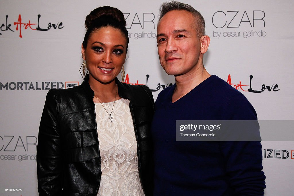 Designer Cesar Galindo with Sammi Giancola backstage before the CZAR by Cesar Galindo fashion show at The Studio at Lincoln Center on February 8, 2013 in New York City.
