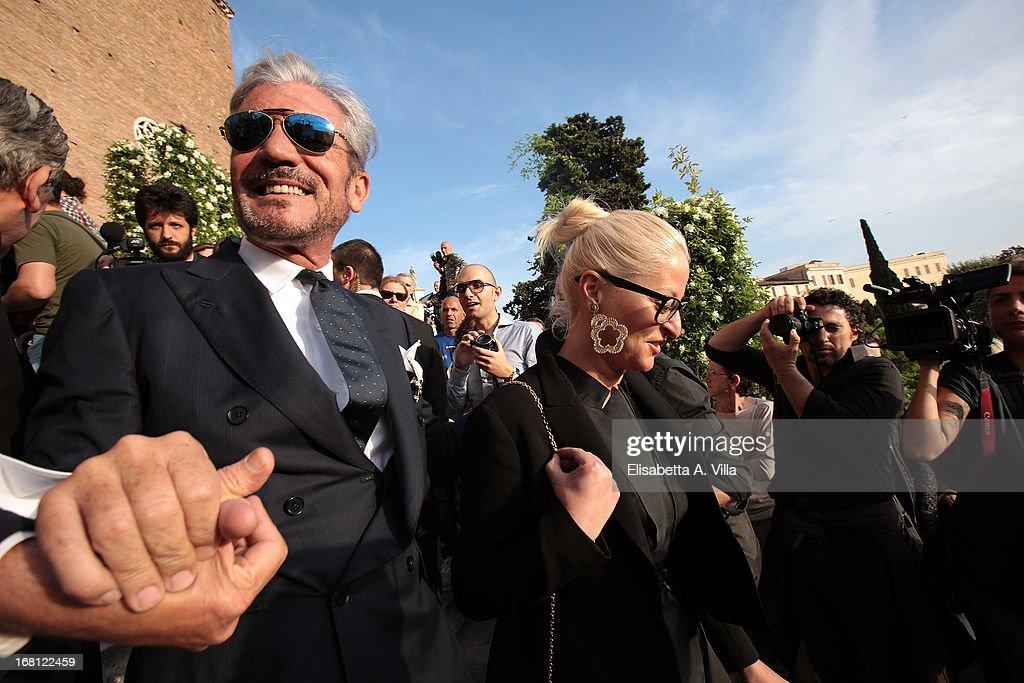 Designer Cesare Paciotti (L) attends the Valeria Marini and Giovanni Cottone wedding at Ara Coeli on May 5, 2013 in Rome, Italy.