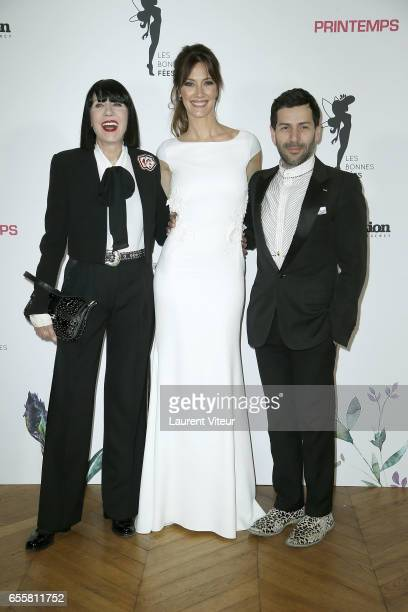 Designer Chantal Thomass Miss France 1999 Mareva Galanter and Designer Alexis Mabille attend 'Les Bonnes Fees' Charity Gala at Hotel D'Evreux on...