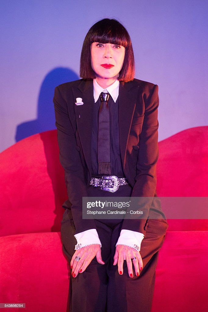 Designer Chantal Thomass poses after the Press Conference at Le Crazy Horse on June 30, 2016 in Paris, France.