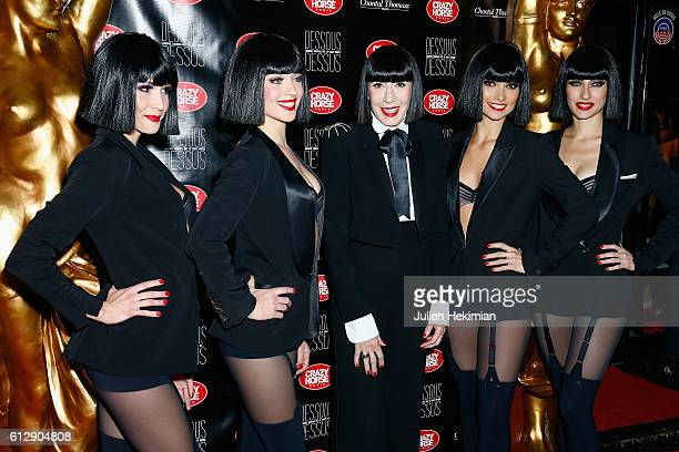 Designer Chantal Thomass poses with Crazy Horse dancers ahead the 'Chantal Thomass Dessous Dessus' show Premiere at Le Crazy Horse on October 5 2016...