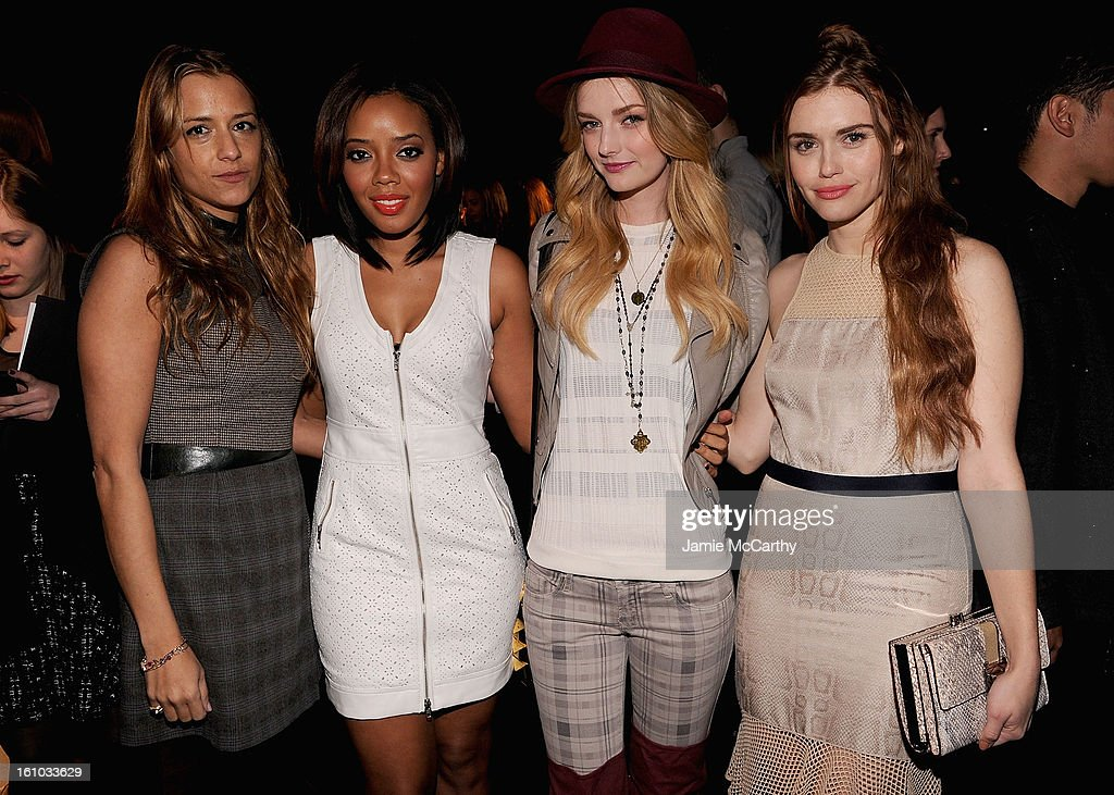 Designer Charlotte Ronson, <a gi-track='captionPersonalityLinkClicked' href=/galleries/search?phrase=Angela+Simmons&family=editorial&specificpeople=653461 ng-click='$event.stopPropagation()'>Angela Simmons</a>, <a gi-track='captionPersonalityLinkClicked' href=/galleries/search?phrase=Lydia+Hearst&family=editorial&specificpeople=221723 ng-click='$event.stopPropagation()'>Lydia Hearst</a> and <a gi-track='captionPersonalityLinkClicked' href=/galleries/search?phrase=Holland+Roden&family=editorial&specificpeople=5578822 ng-click='$event.stopPropagation()'>Holland Roden</a> attend the Charlotte Ronson Fall 2013 Mercedes-Benz Fashion Week Presentation at the Box at Lincoln Center on February 8, 2013 in New York City.