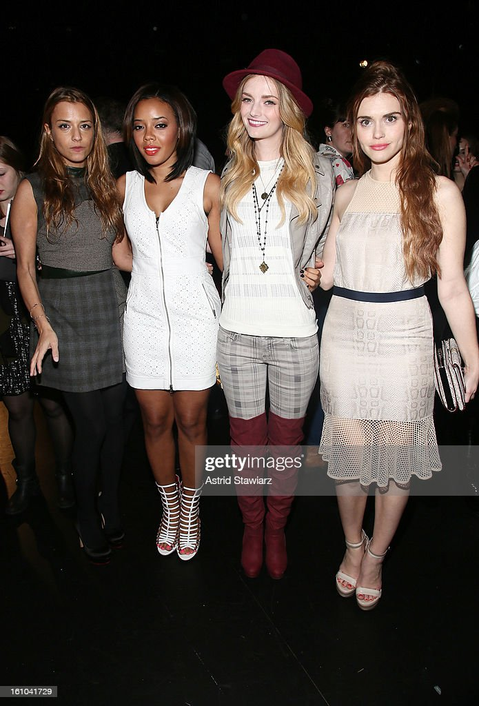 Designer Charlotte Ronson, <a gi-track='captionPersonalityLinkClicked' href=/galleries/search?phrase=Angela+Simmons&family=editorial&specificpeople=653461 ng-click='$event.stopPropagation()'>Angela Simmons</a>, <a gi-track='captionPersonalityLinkClicked' href=/galleries/search?phrase=Lydia+Hearst&family=editorial&specificpeople=221723 ng-click='$event.stopPropagation()'>Lydia Hearst</a> and <a gi-track='captionPersonalityLinkClicked' href=/galleries/search?phrase=Holland+Roden&family=editorial&specificpeople=5578822 ng-click='$event.stopPropagation()'>Holland Roden</a> pose on the runway at the Charlotte Ronson Fall 2013 Presentation during Mercedes-Benz Fashion Week at The Box at Lincoln Center on February 8, 2013 in New York City.