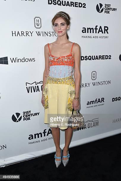 Designer Chiara Ferragni attends amfAR's Inspiration Gala Los Angeles at Milk Studios on October 29 2015 in Hollywood California
