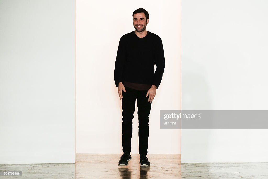Designer Chris Gelinas walks the runway at the CG runway show during Fall 2016 MADE Fashion Week at Milk Studios on February 12, 2016 in New York City.