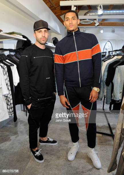 Designer Chris Stamp and Los Angeles Lakers Guard Jordan Clarkson attend the Immersive Style Experience with fans at Delta's 'Beyond the Court' event...