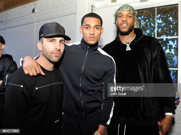 Designer Chris Stamp Los Angeles Lakers Guard Jordan Clarkson and Los Angeles Lakers Power Forward Thomas Robinson attend the Immersive Style...