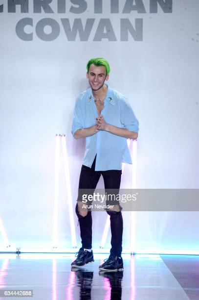 Designer Christian Cowan walks the runway at the Christian Cowan Fall/Winter 2017 Fashion Show at Pier 59 on February 9 2017 in New York City