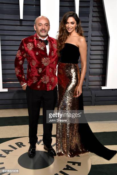 Designer Christian Louboutin and actress Deepika Padukone attend the 2017 Vanity Fair Oscar Party hosted by Graydon Carter at Wallis Annenberg Center...