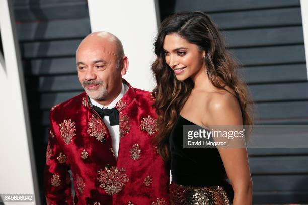 Designer Christian Louboutin and actress Deepika Padukone attend the 2017 Vanity Fair Oscar Party hosted by Graydon Carter at the Wallis Annenberg...