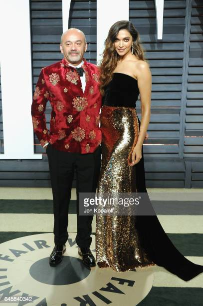Designer Christian Louboutin and actress Deepika Padukone attends the 2017 Vanity Fair Oscar Party hosted by Graydon Carter at Wallis Annenberg...