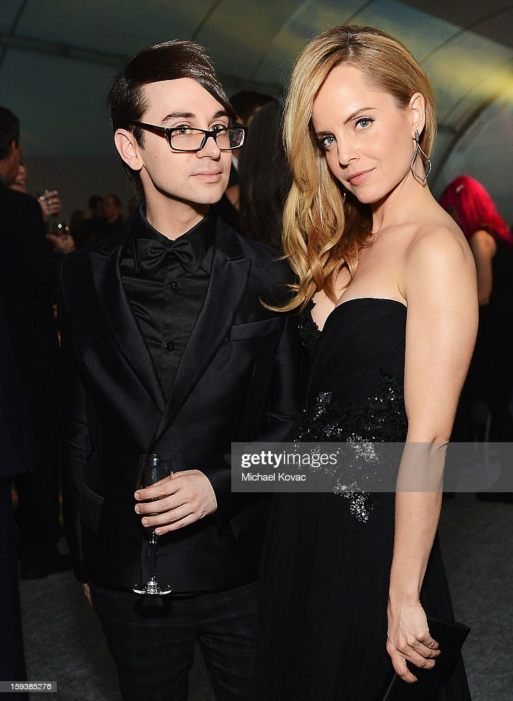 Designer Christian Siriano (L) and actress Mena Suvari attend The Art of Elysium's 6th Annual HEAVEN Gala presented by Audi at 2nd Street Tunnel on January 12, 2013 in Los Angeles, California.