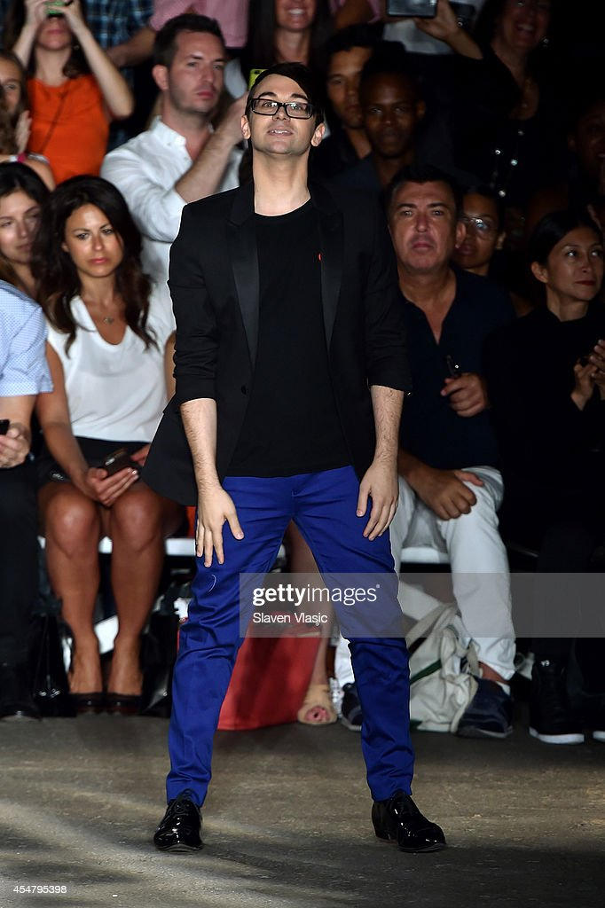 Designer Christian Siriano appears on the runway at the Christian Siriano fashion show during MercedesBenz Fashion Week Spring 2015 at Eyebeam on...