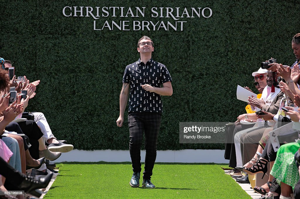 Designer Christian Siriano greets the audience after the Christian Siriano x Lane Bryant Runway Show at United Nations on May 9 2016 in New York City