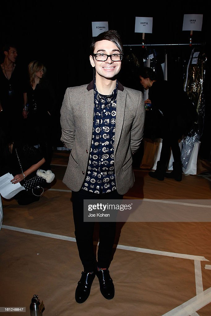 Designer Christian Siriano poses backstage at the Christian Siriano Fall 2013 fashion show during Mercedes-Benz Fashion Week on February 9, 2013 in New York City.