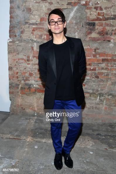 Designer Christian Siriano poses backstage at the Christian Siriano fashion show during MercedesBenz Fashion Week Spring 2015 at Eyebeam on September...
