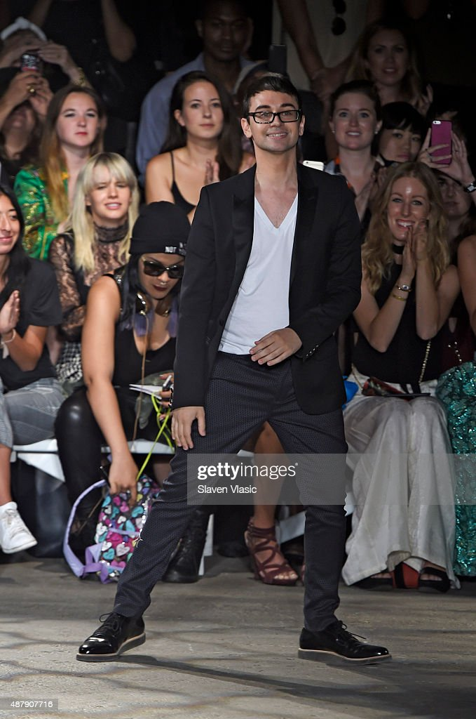 Designer Christian Siriano walks the runway at the Christian Siriano Spring 2016 fashion show during New York Fashion Week at ArtBeam on September 12...