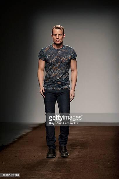 Designer Christian Wijnants walks the runway during the Christian Wijnants show as part of the Paris Fashion Week Womenswear Fall/Winter 2015/2016 on...