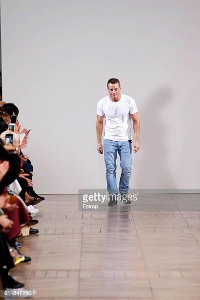 Designer Christian Wijnants walks the runway during the Christian Wijnants show as part of the Paris Fashion Week Womenswear Spring/Summer 2017 on...