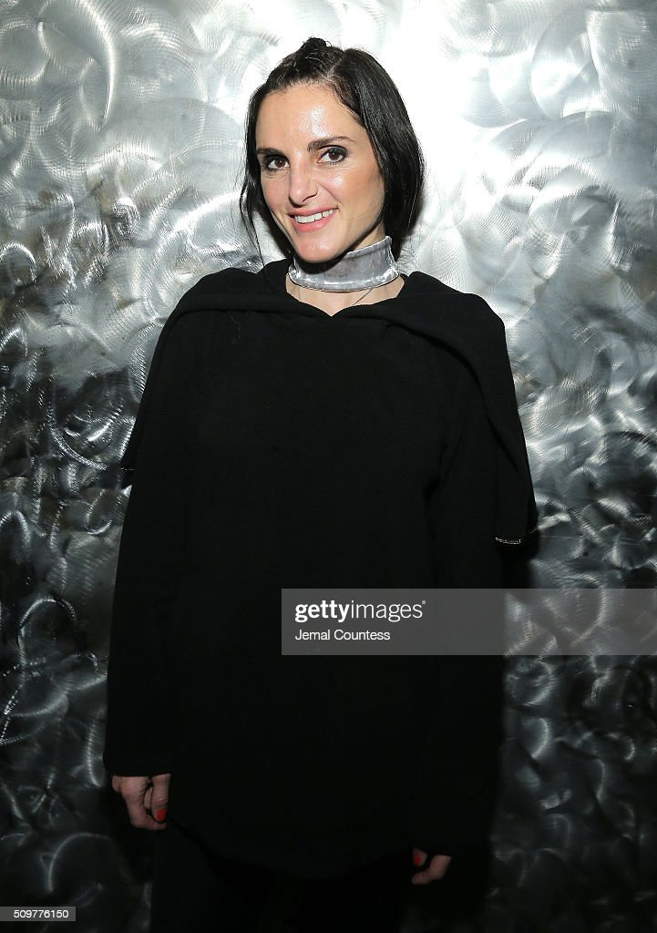 Designer, Christina Minasian, poses at the iiJin Fall 2016 fashion show during New York Fashion Week at Pier 59 on February 12, 2016 in New York City.