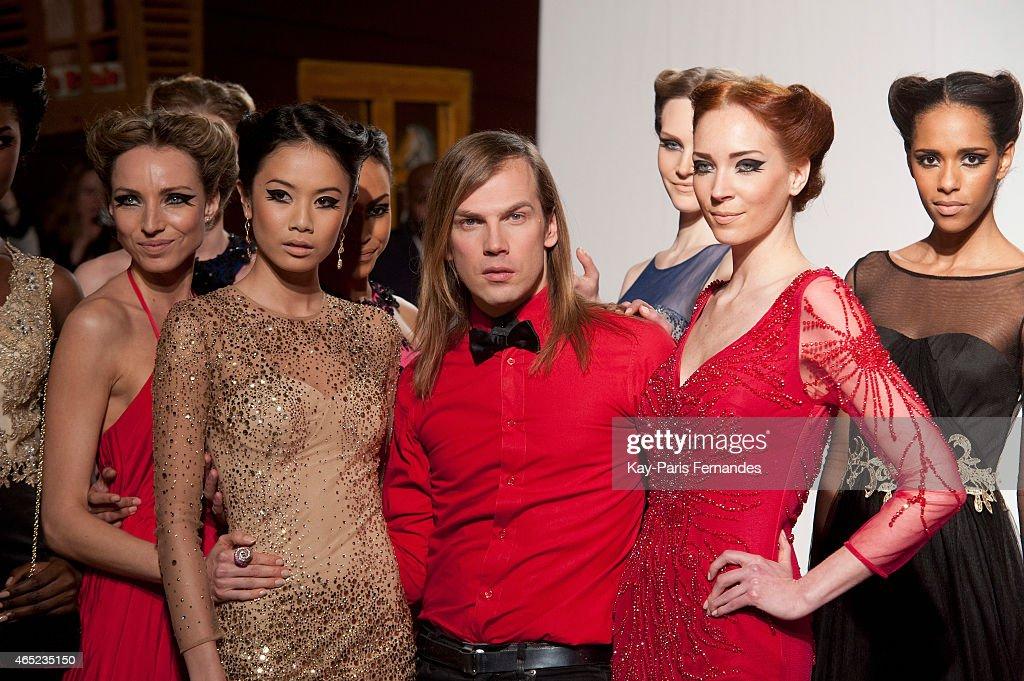 Designer Christophe Guillarme and models walk the runway during the Christophe Guillarme show as part of the Paris Fashion Week Womenswear...