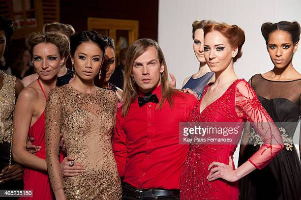 Designer Christophe Guillarme and models walk the runway during the Christophe Guillarme show as part of the Paris Fashion Week Womenswear...