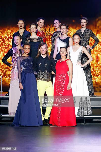 Designer Christophe Guillarme Singer Priscilla Betti and Models walk the runway for Final during the Christophe Guillarme show as part of the Paris...