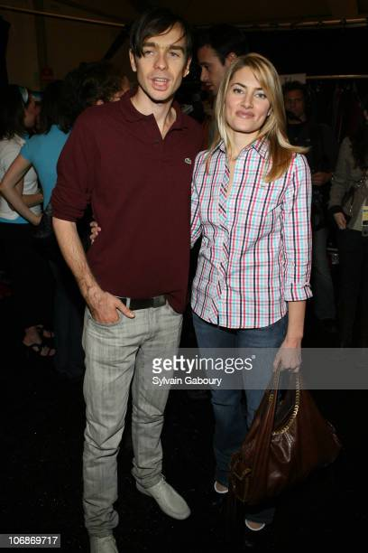 Designer Christophe Lemaire and Madchen Amick during Olympus Fashion Week Fall 2006 Lacoste Backstage at Bryant Park in New York City New York United...