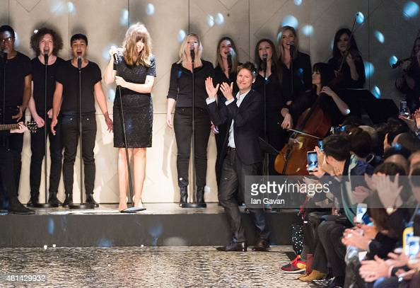 Designer Christopher Bailey appears at the end of the runway after the Burberry Prorsum show at the London Collections Men AW15 at Albert Memorial on...
