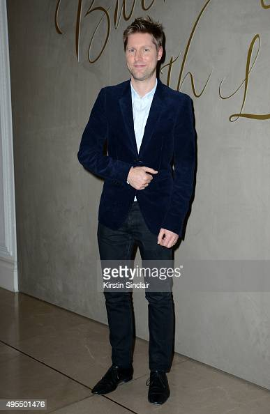 Designer Christopher Bailey arrives for the premiere of the Burberry festive film at Burberry on November 3 2015 in London England