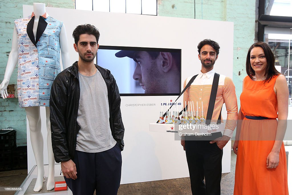 Designer Christopher Esber poses with an outfit designed for Aqua Panna and San Pelegrino during Mercedes-Benz Fashion Week Australia Spring/Summer 2013/14 at Carriageworks on April 9, 2013 in Sydney, Australia.